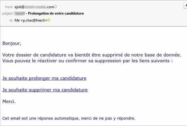 mail : Prolongation de votre candidature